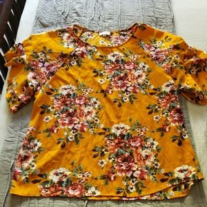 Mustard Color Floral Top